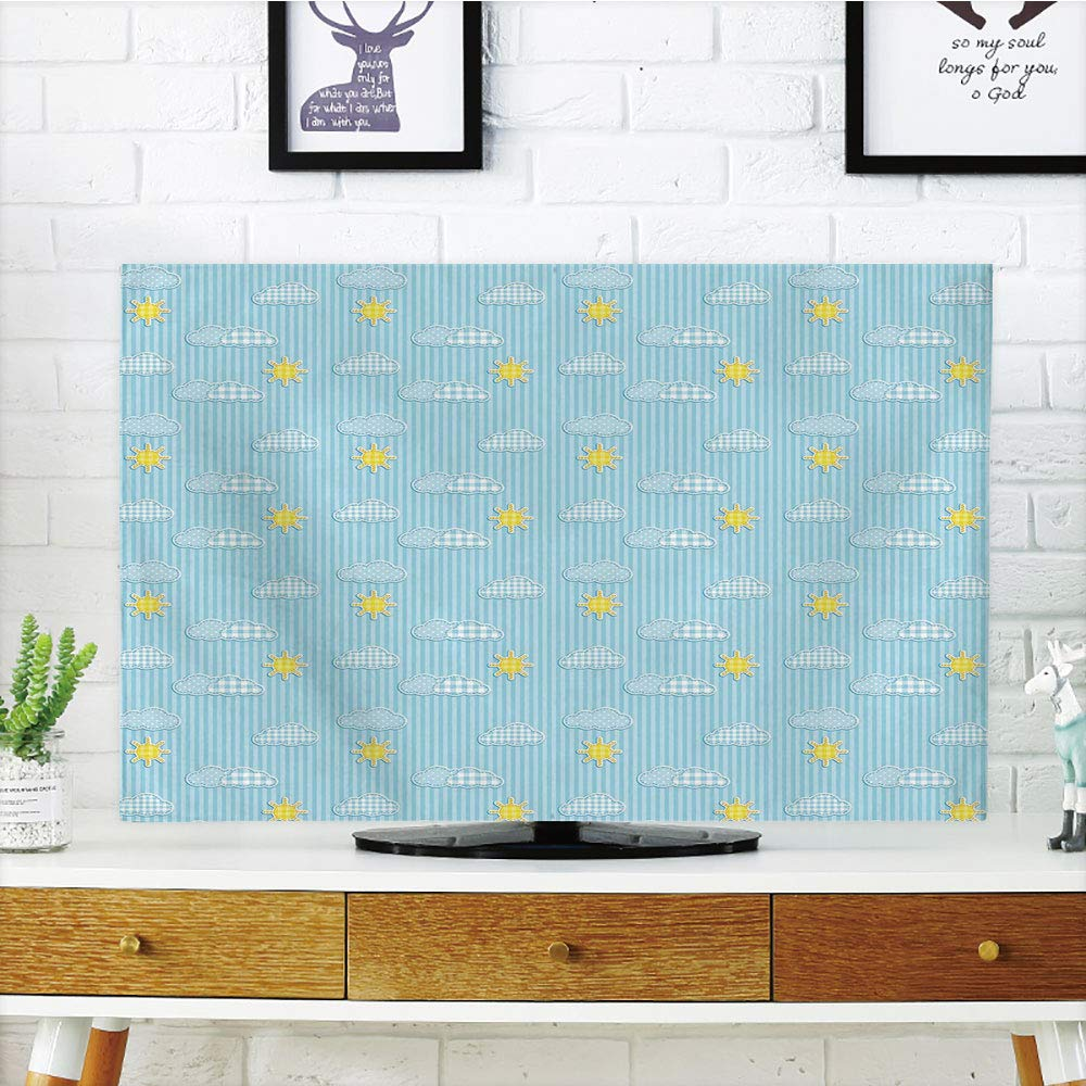 iPrint LCD TV dust Cover Strong Durability,Yellow and Blue,Cute Clouds Sun Pattern with Vertical Stripes Dots Playroom Decor,Light Blue Yellow,Picture Print Design Compatible 47'' TV
