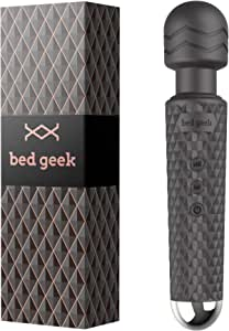 Wireless Full Body Wand Massager by BED GEEK Handheld Waterproof Electric Massage Wand Skin Soft Silicone 20 Patterns 8 Speeds (Black)