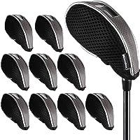 Andux Mesh Golf Iron Head Covers with window 10pcs/set 01-YBMT-001-01 Black/grey