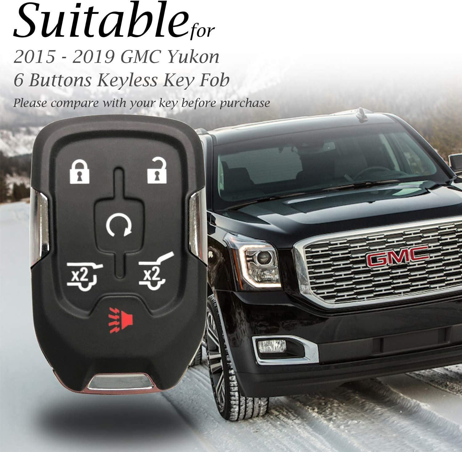 Yukon Denali 6-Button, Black Vitodeco Genuine Leather Smart Key Fob Case Cover Protector with Leather Key Chain for 2015-2019 GMC Yukon Yukon XL