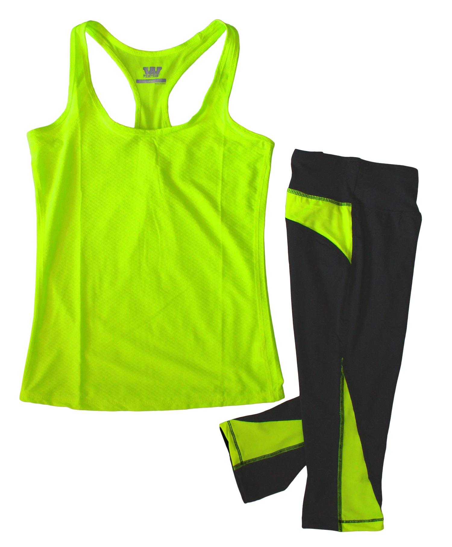 W SPORT Women's Moisture Wick Athletic Yoga Tank Top & Capri Leggings, Neon Yellow, Large