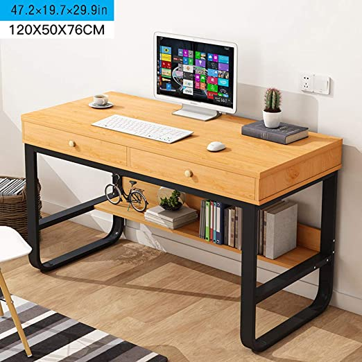 Black Zhou2 Desktop Computer Desk With 2 Drawers Home Office Multi Layer Storage Study Writing Table