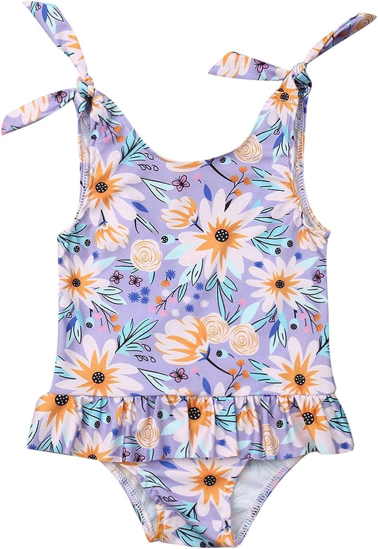 Toddler Baby Girls Sunflower One Piece Swimsuit Tie Shoulder Floral Ruffle Tutu Beach Swimwear Bathing Suit