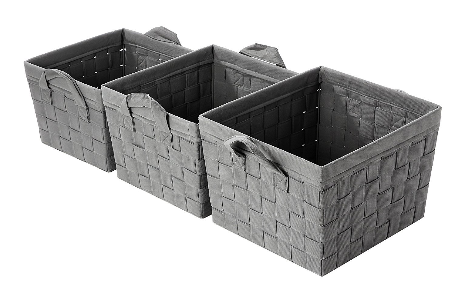 Juvale Storage Basket - 3-Piece Nesting Baskets, Grey Woven Storage Cube Containers - Storage Bins – Decorative Organizing Baskets Shelves, Magazines, Books, Toys – Small, Medium, Large Toys – Small