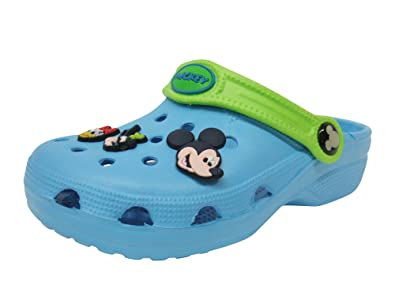 4174b94e81301 Disney Crocs style Kids Boy Clog Slippers shoes Blue With Mickey Mouse Shoe  Charms 6pc (