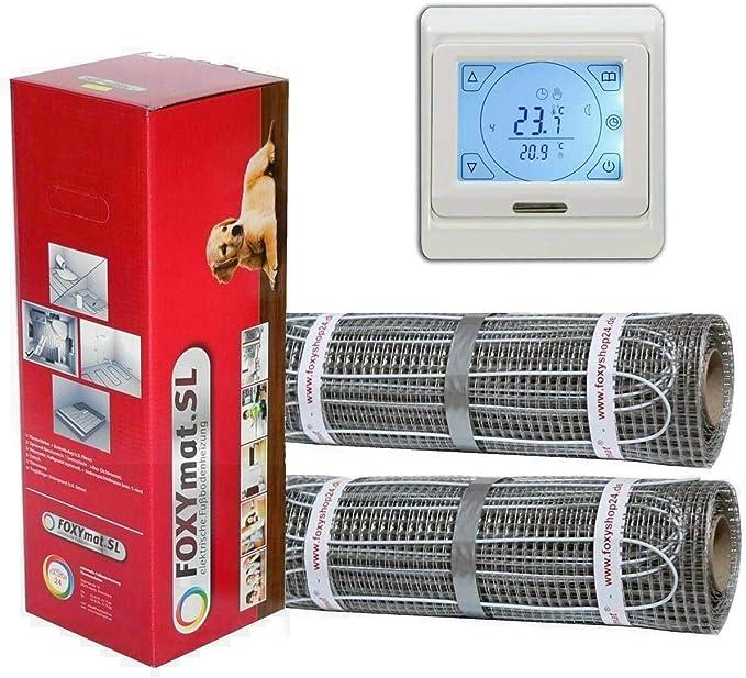 elektrische Fu/ßbodenheizung FOXYMAT.SL 0.5m x 18m mit Thermostat QM-BLUE-TS 9.0 m/² 160 Watt pro m/²