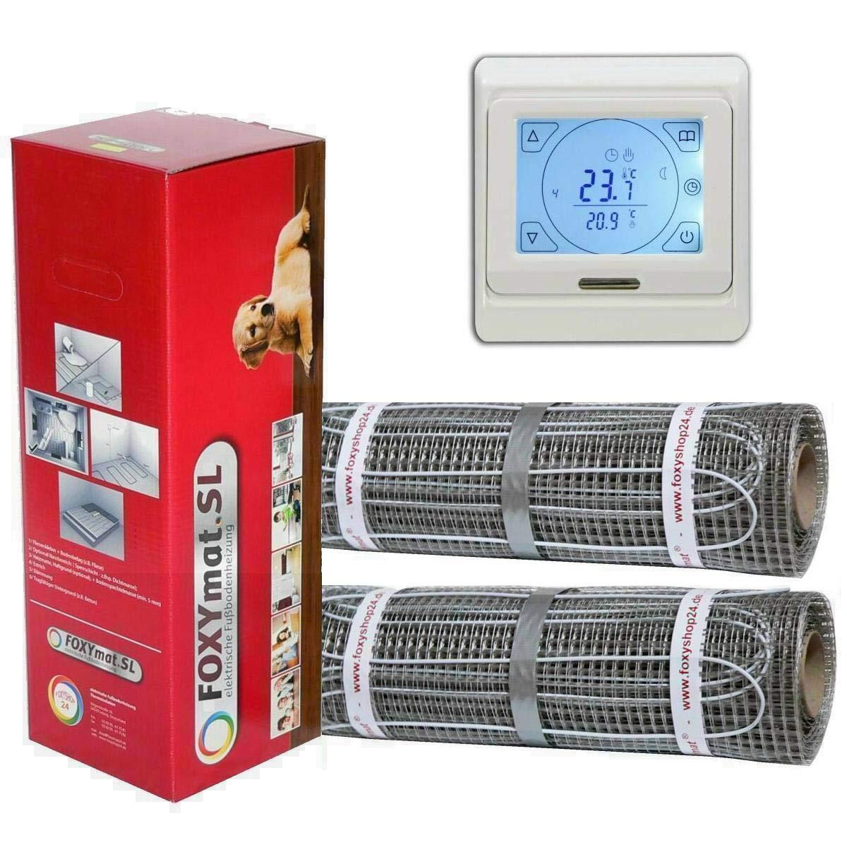 mit Thermostat QM-BLUE-TS,Komplett-Set 4.5 m/² 160 Watt pro m/² 0.5m x 9m FOXYSHOP24-elektrische Fu/ßbodenheizung PREMIUM MARKE FOXYMAT.SL