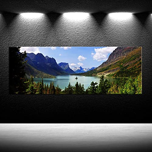 iKNOW FOTO Canvas Prints Wall Art Panoramic View of Saint Mary Lake West Glacier Going to Sun Road Landscape Montana USA Picture Printed on Canva