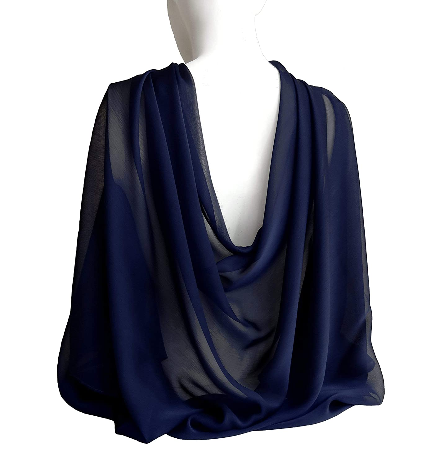 20a42abcbe8 Midnight Navy Blue Wide Long Shiny Scarf for Women Evening Wrap With Gift  Box Formal Shawl Lightweight Cocktail Chiffon Stoles Christmas Mother s day  77