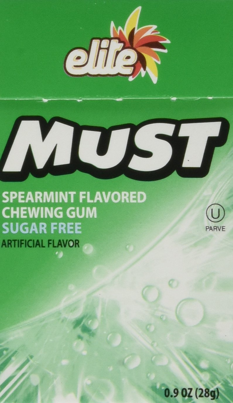 Elite Kosher Must Chewing Gum Spearmint Flavored Sugar Free 20 Pieces