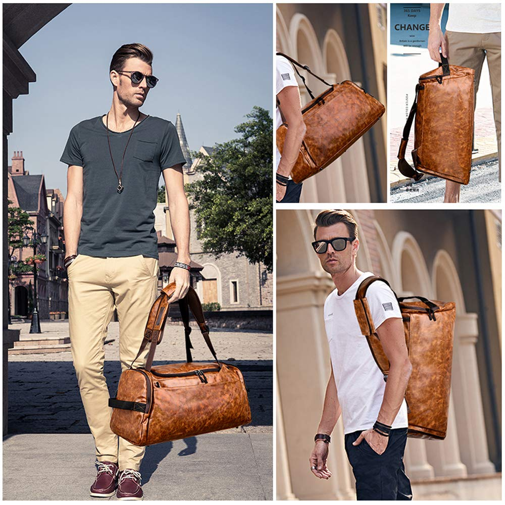 Leather Duffel Bag | Large Capacity Weekend Overnight Travel Gym Sport Luggage Tote for Men and Women – By (YOUR BRAND NAME) (vintage brown) by sdiyabolo (Image #7)