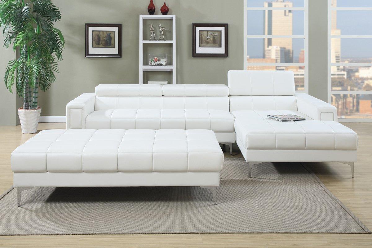 Perfect Amazon.com: Poundex F7364 Bobkona Hayden Bonded Leather Sectional With  Adjustable Back, White: Kitchen U0026 Dining