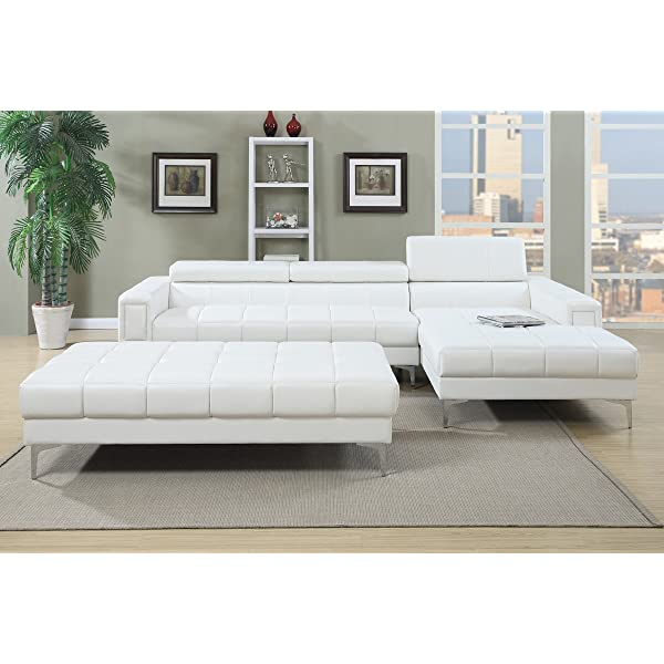 Poundex F7364 Bobkona Hayden Bonded Leather Sectional with Adjustable Back, White