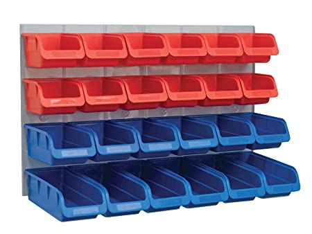 faithfull 24 plastic storage bins with metal wall panel - Plastic Storage Bins