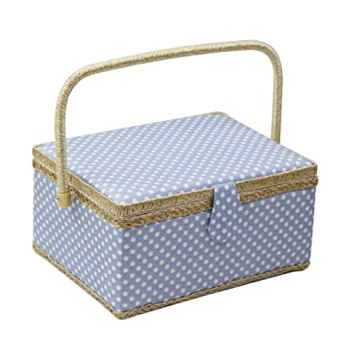 Large Sewing Box with Travel Kit Sewing Basket Organizer with Accessories DIY Sewing Supplies Sewing Kits for Adults, Blue