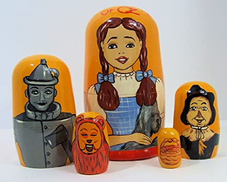 4 inches tall 5pcs Hand Painted Russian Nesting Doll of The Wizard of Oz