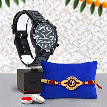 TIED RIBBONS Designer Rakhi for Brother with Gifts Men's Wrist Watch with  Strap Roli Chawal and Rakshabandhan Special Car