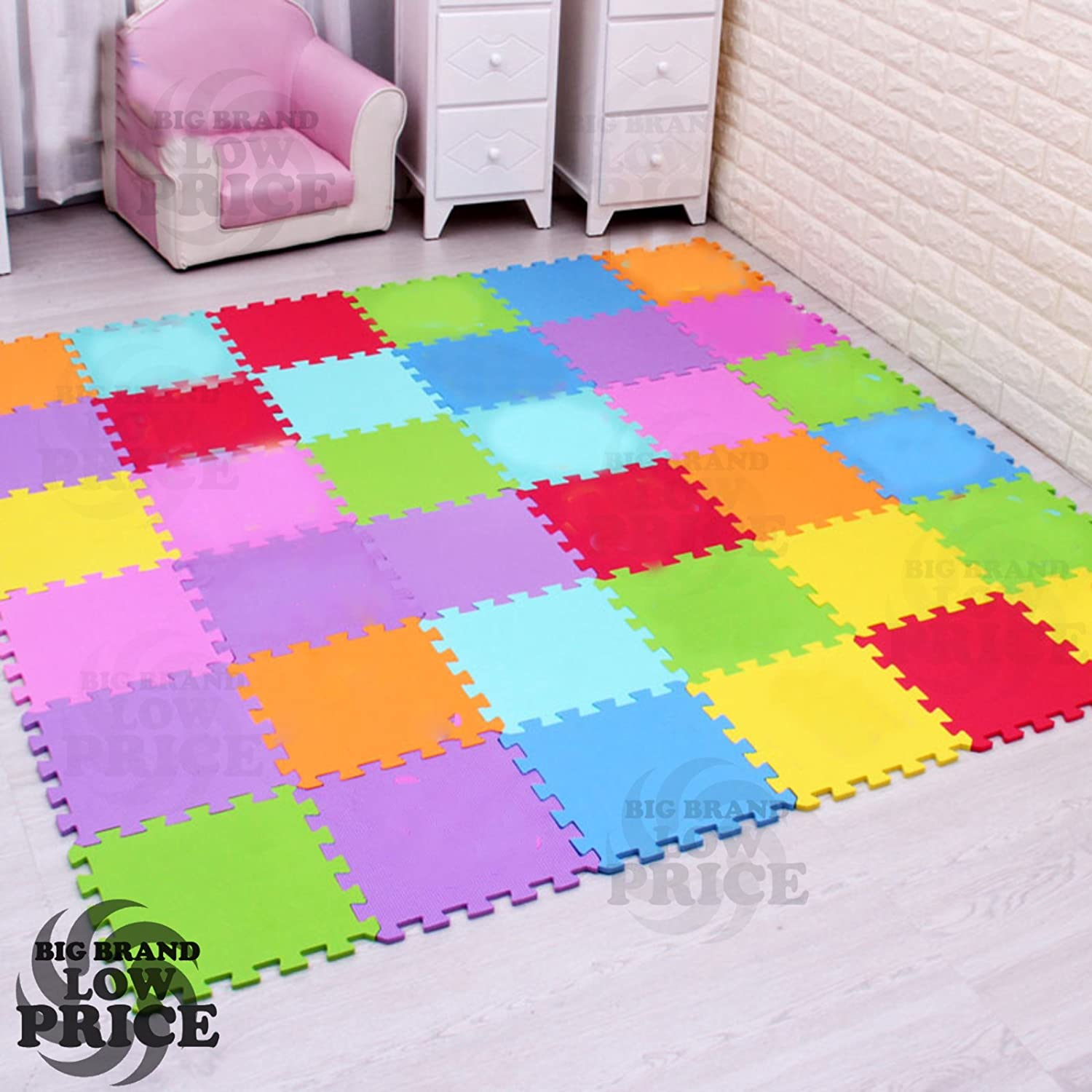 FB FunkyBuys® 20Pcs Multicolor Puzzled EVA Soft Foam Kids Play Area Mat 20SQ.FT Interlocking Tiles 30x30cm SI-605_20PC_EVA_Mats