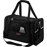 Aivituvin Pet Carrier for Cats and Dogs,Travel Soft Sided Cat Carriers for Medium or Small Animal,Black