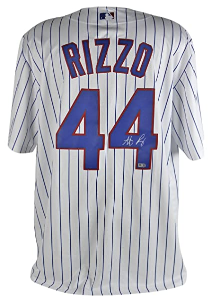 549b60117 ... cheap cubs anthony rizzo signed majestic coolbase white pinstripe  jersey mlb authentication e2f8a 07104
