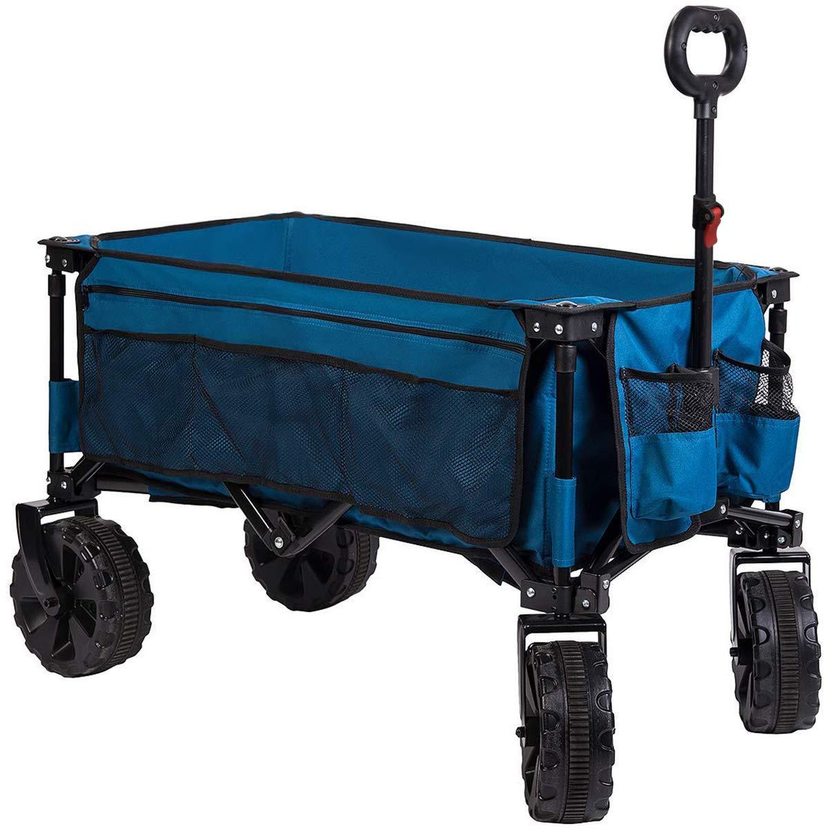 Timber Ridge Folding Camping Collapsible Sturdy Steel Frame Garden Beach Wagon Cart Heavy Duty, Blue-Side Bag