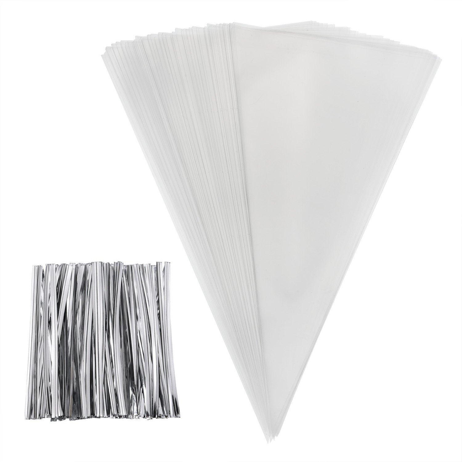 Outus 100 Pieces Large Size Clear Cone Bags Cello Bags Treat Bags and 100 Pieces Silver Twist Ties for Crafts and Sweets