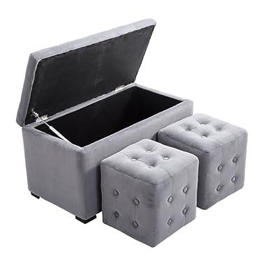 HOMCOM 3 Piece Nesting Microfiber Storage Bench 2 Cube Ottoman Set - Soft Light Grey