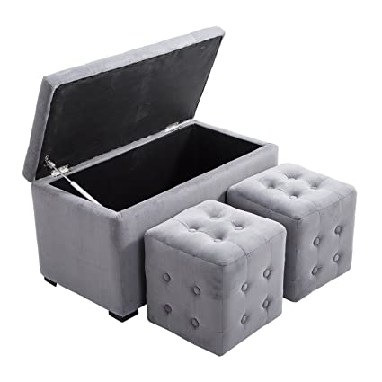 HOMCOM Three Piece Nesting Microfiber Storage Bench Two Cube Ottoman Set    Soft Light Gray