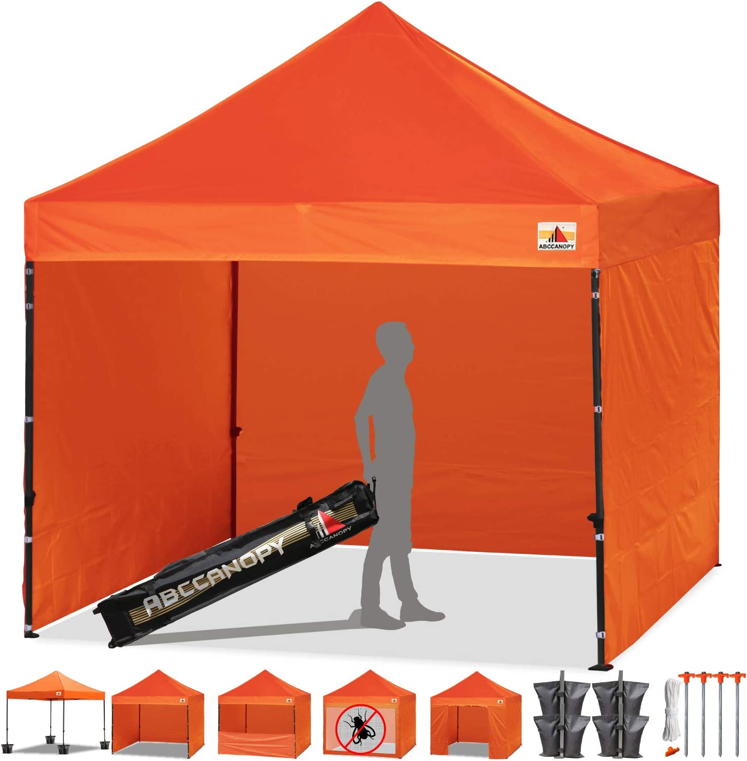 ABCCANOPY Canopy Tent Popup Canopy 10x10 Pop Up Canopies Commercial Tents Market stall with 6 Removable Sidewalls and Roller Bag Bonus 4 Weight Bags and 10ft Screen Netting and Half Wall, Aurantia 716OlEyVGfL