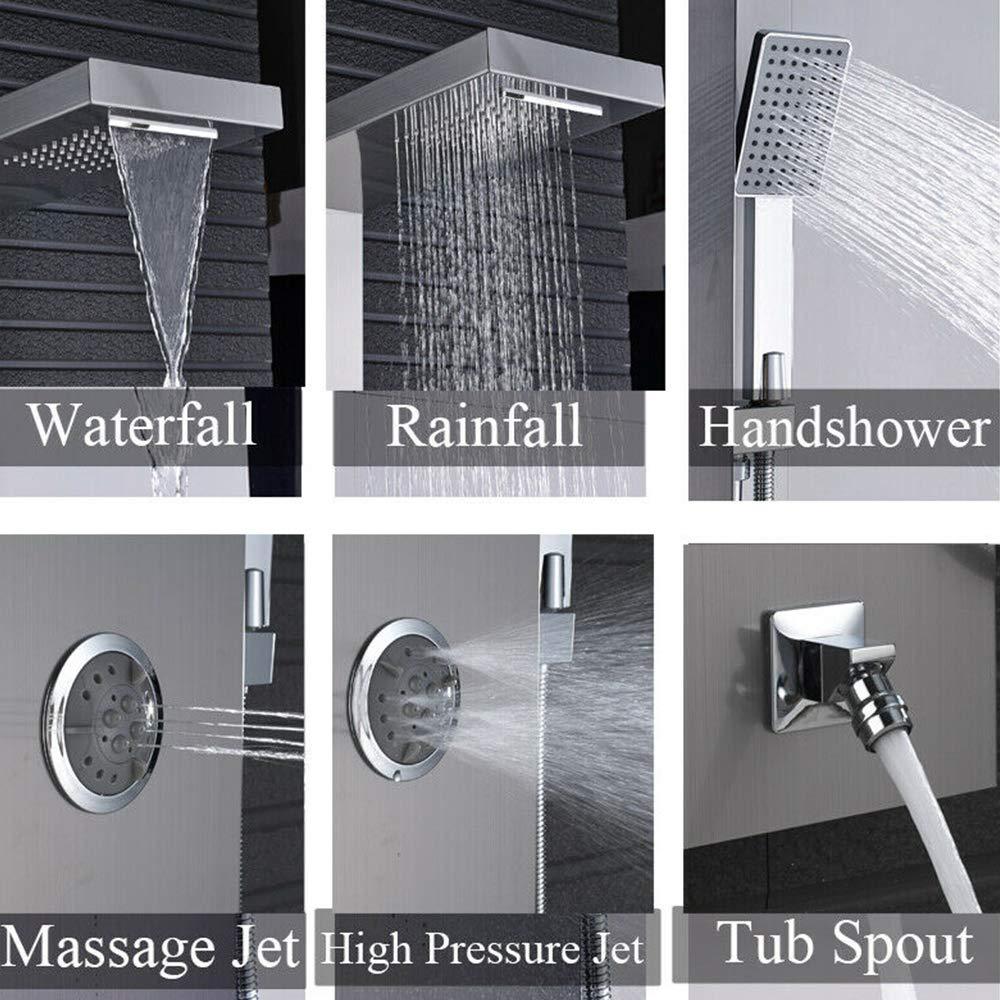 Columna de ducha de acero inoxidable cepillado con efecto lluvia Onyzpily 3 boquillas de masaje