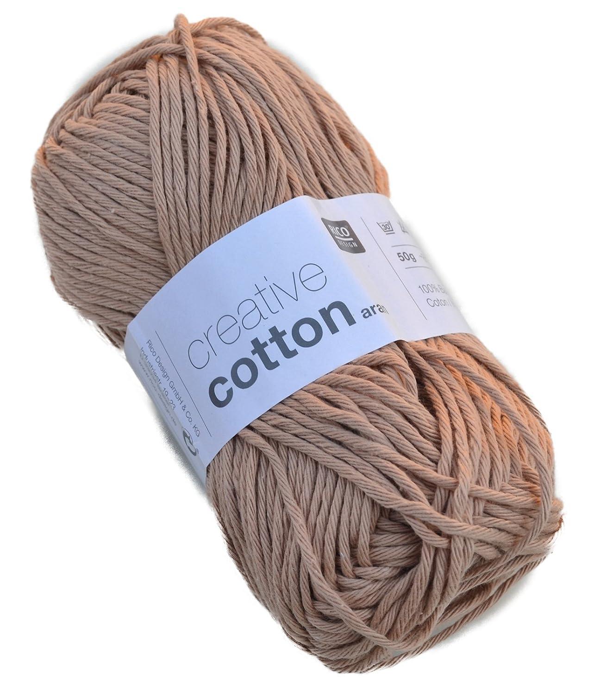 Creative Cotton Aran - Filato in cotone da 50 g, per uncinetto, gomitolo da 85 m Fb. 02 pastellrosa Rico