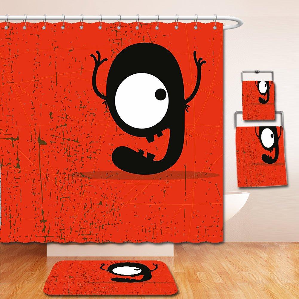 Nalahome Bath Suit: Showercurtain Bathrug Bathtowel Handtowel Red Decor Cartoon Style Illustration of Letter G Monster on Grunge Background Red Black and White