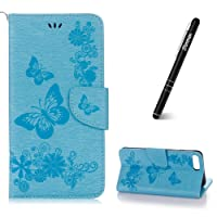Slynmax iPhone 7 Plus Case, iPhone 8 Plus Phone Case, Magnetic Closure Premium PU Leather Flip Wallet Floral Print Flower Butterfly Design Folio Case
