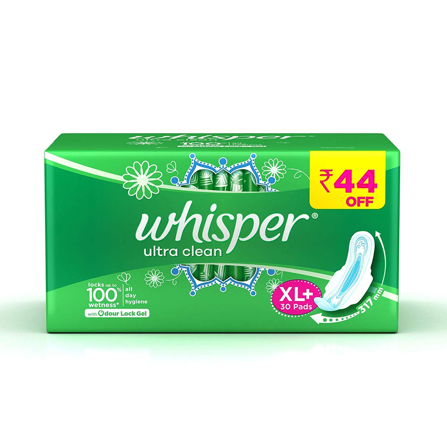 Whisper Ultra Clean Sanitary Pads - 30 Pieces (XL Plus) product image