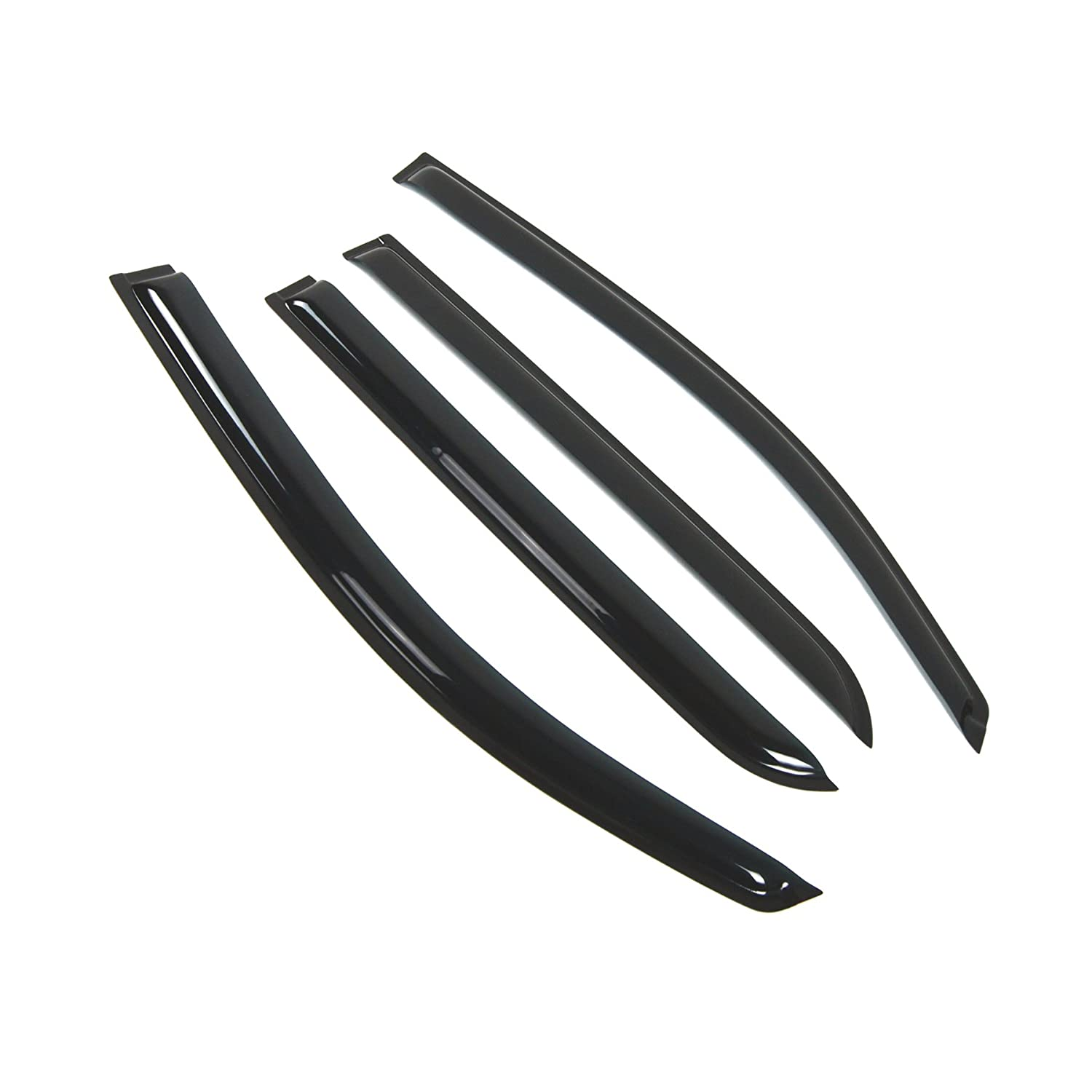 Tuningpros WD2-389 Outside Mount Window Visor Deflector Rain Guard Dark Smoke 4 Pcs Set Compatible With 2008-2014 Scion Scion xD