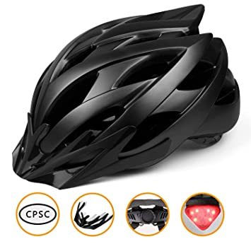 Shinmax Ciclo Casco con luz de Seguridad, CE Certificado, Casco Ajustable de la Bici