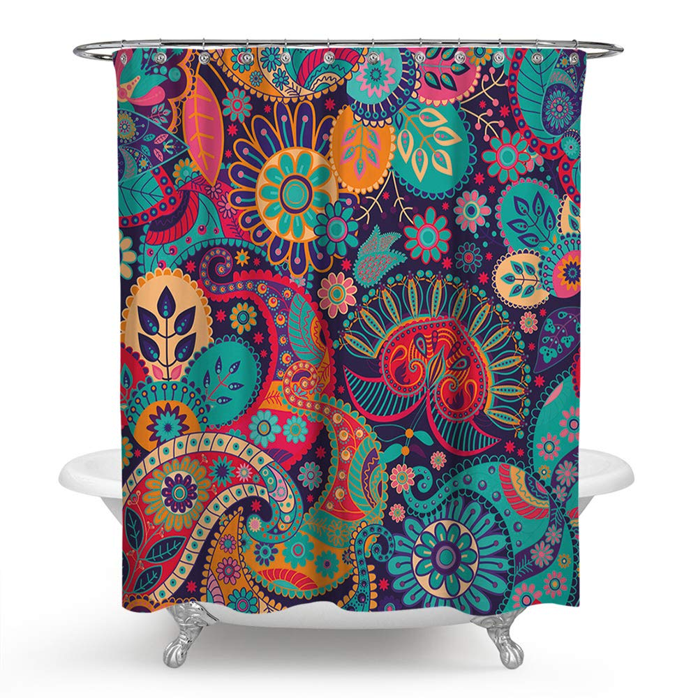 PHNAM Mandala Shower Curtain with Hooks 72x72 Inches Extra Long Waterproof Decoration Polyester Cloth Bath Curtains Sets for Bathroom, Bathtub (D)