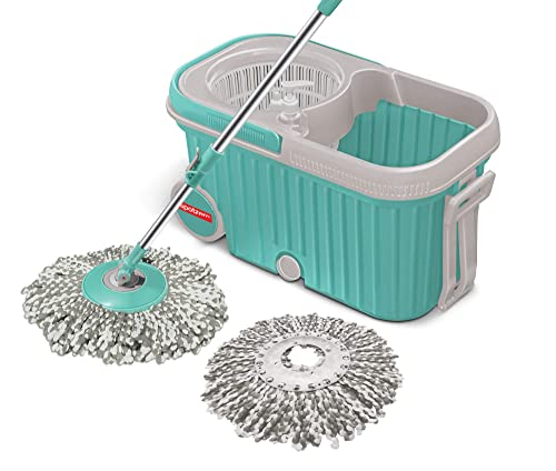 2. ESpotzero by Milton E-Elite Spin Mop with Bigger Wheels and Plastic Auto Fold Handle for 360 Degree Cleaning (Aqua Green, Two Refills)