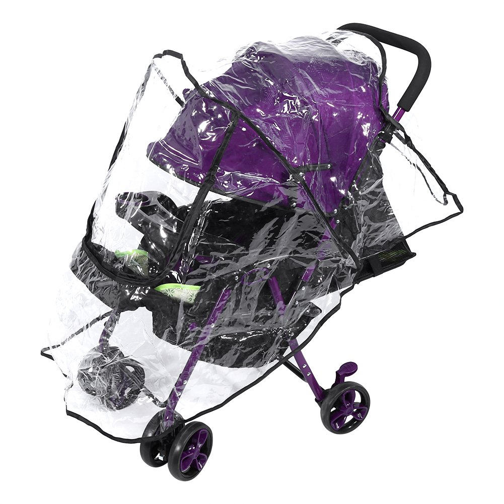 Baby Stroller Rain Cover Universal Transparent Pushchair Shield Dust-Proof Wind-Proof Insect-Proof with Zipper Window Fdit
