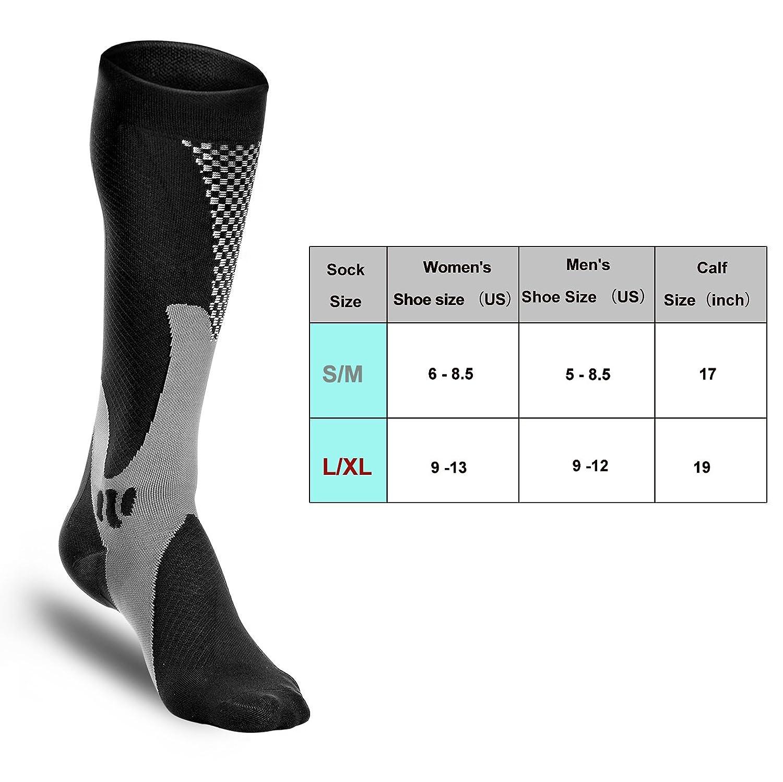 Odoland Calcetines deportivos de compresión calcetines auténticos para recuperación y rendimiento-correr, atletas, enfermeras, espinilleras, viajes de vuelo ...