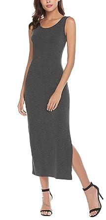 dabfd5da5f SimpleFun Women Summer Sleeveless Stretch Side Slit Racerback Tank Long Maxi  Dress (M, Dark