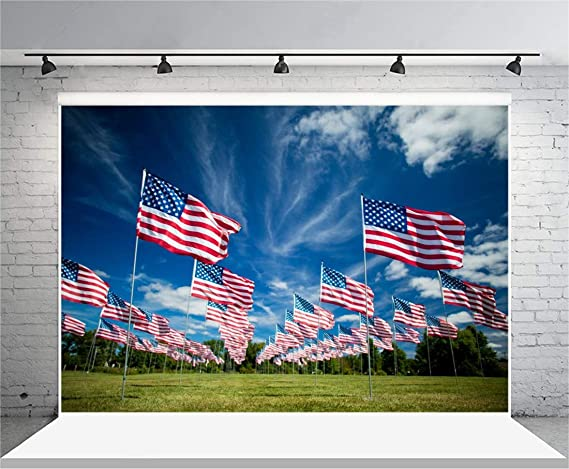 Baocicco 6.5x6.5ft USA Memorial Day Photography Backdrop Background Armed Forces American USA Stars Flag Blue White Red The Stars and Stripes Children Adults Soldier Portrait Photo Studio Vinyl Props
