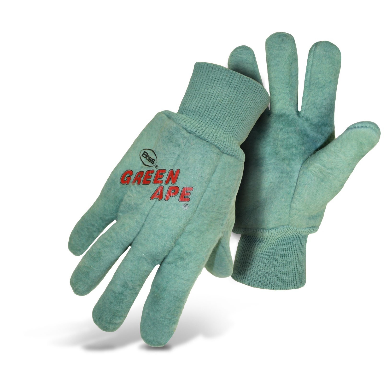 Boss Guard 313 Green Ape Chore Cotton Work Gloves, Large (Case of 72 Pairs)