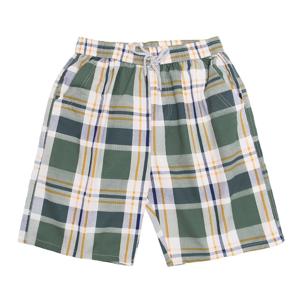 Men's Classic - Fit Cotton Checkered Printing Pleated Shorts with Drawstring Walk Medium