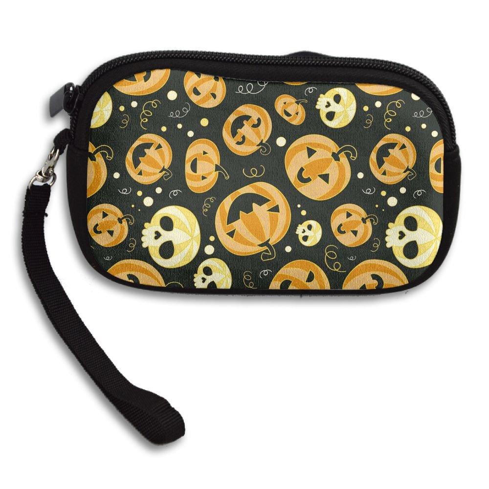 Halloween Pumpkin Printing Small Wallet Coin Purse Card Zipper Bag Handbags For Women