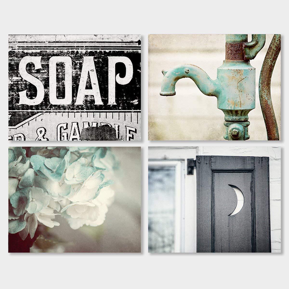 Amazon com bathroom decor set of 4 photographs discount rustic bathroom wall art in aqua black and teal handmade