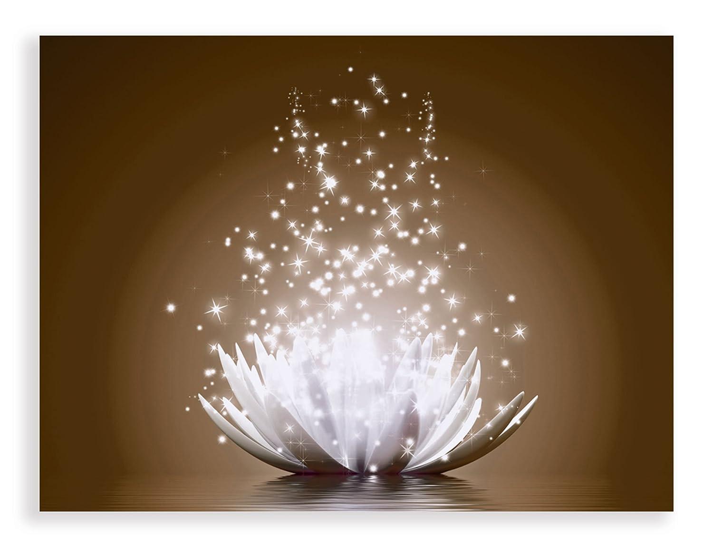 Artland Qualitätsbilder I Glasbilder Magie der Lotus-Blume Deko Glas Bilder 80x60 cm Botanik Blumen Seerose Digitale Kunst D8QJ braun