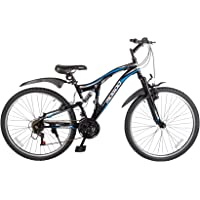 Mogoo Journey Dual Suspension Bike 21 Speed 26 Inch (Black/Blue) 100% Assembled