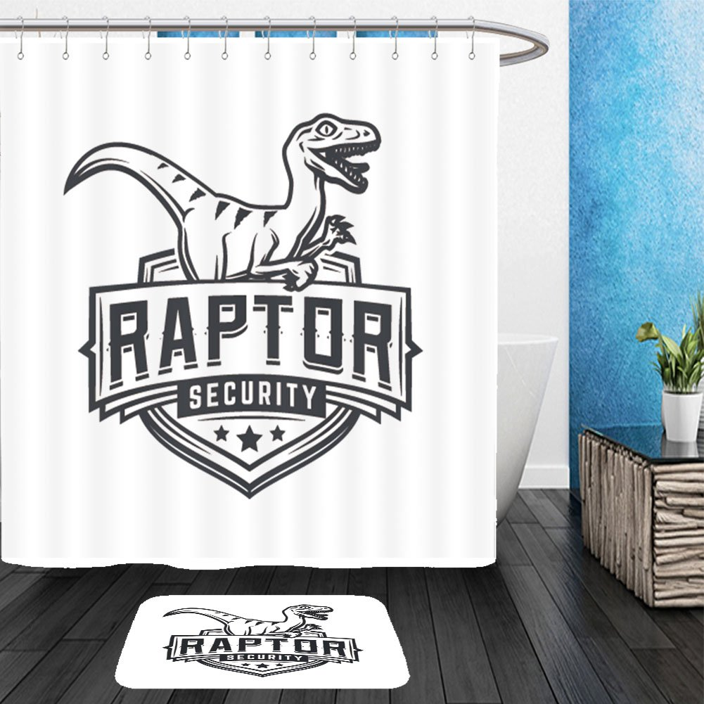 vanfan Bathroom 2?Suits 1 Shower Curtains & 1 Floor Mats Raptor Sport Logo Mascot Design Vintage College Team Coat arms Military Dino Vector Logotype 433879102 from Bath Room