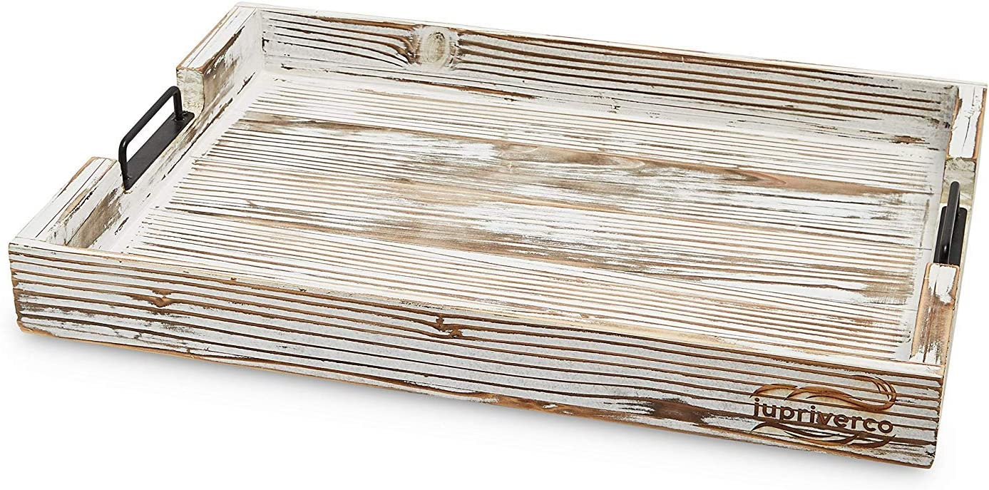 Jupriverco Coffee Table Tray - Serving Ottoman Platter - Real Wood - Farmhouse Rustic Decor - Cocktail/Tea/Coffee Bar - Breakfast in Bed - Vanity Centerpiece - White Brushed Distressed Stain